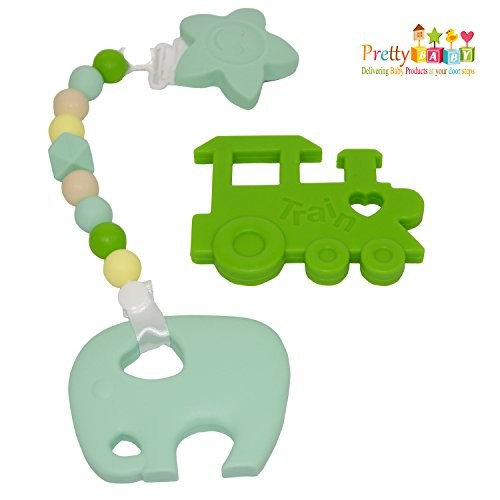 4 Baby Teether Toys To Reduce Teething Pain & Inflammation. Bonus Silicone Teething Necklace FREE. Soft Chewy Teethers For Baby Shower Gifts, Baby Gifts. Baby Teethers & Baby Teething Necklace Combo.
