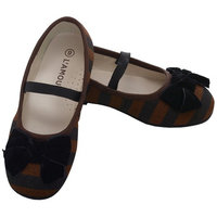 L 'Amour Brown Black Stripe Bow Slip On Dress Shoes Toddler Girls 7-10