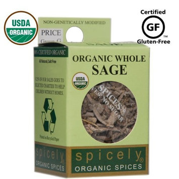 Spicely Organic Sage Whole 0.10 Ounce ecoBox Certified Gluten Free