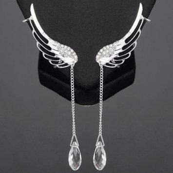 SEXY SPARKLES Angel Wing Earrings Silver Tone Crystal Glass Teardrop Tassel W/Clear Rhinestone