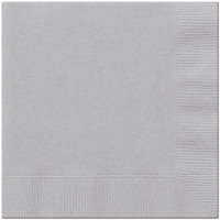 CPC B1313S Silver Disposable 2-Ply 1 by 4 Fold Lunch Party Napkins, Case of 600 - 12 Case of 50