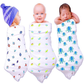 Premium Baby Swaddle Blanket to Calm Your Cranky Newborn Boy. 3 Pack Cotton Baby Blanket for Receiving, Swaddling, Nursing Covers. A Super Soft Muslin Swaddle Blanket Gift for Baby Shower.