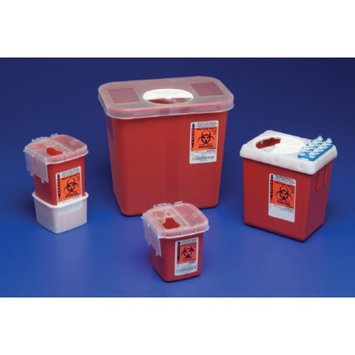 AutoDrop Phlebotomy Sharps Container 1-Piece 7.25H X 6.5W X 4.47D Inch 2.2 Quart Red Base Vertical Entry Lid