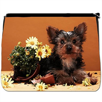 Cute Puppy Sat in Picnic Basket Black Large Messenger School Bag [Cute Puppy Sat in Picnic Basket]