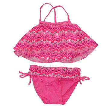 Ct Kidz Infant & Toddler Girls Pink Heart 2 Piece Tankini Swimming & Bathing Suit 2T