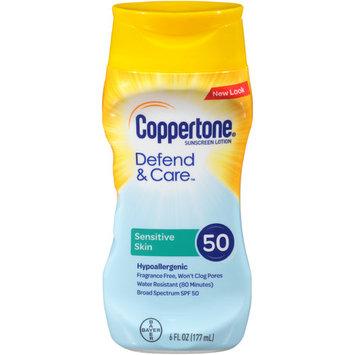Coppertone Defend & Care Sensitive Skin Sunscreen Broad Spectrum SPF 50 Lotion, 6 Fluid Ounces