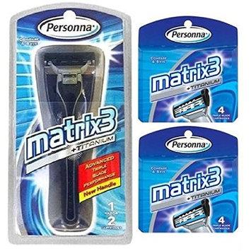 Personna Matrix3 Advanced Triple Blade Razor Handle + Matrix3 Titanium Triple Blade Refill Cartridge Blades, 4 Ct. (Pack of 2) + FREE Luxury Luffa Loofah Bath Sponge On A Rope, Color May Vary