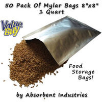 Dry Packs Dry-Packs 50-1-Quart Mylar Bags, 8 by 8-Inch for Dried Dehydrafted