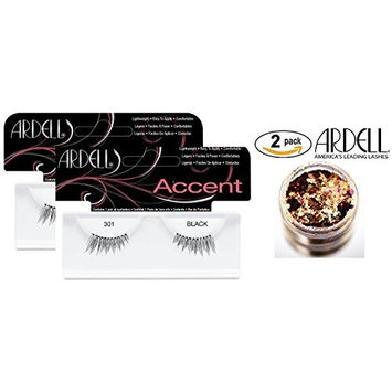 Ardell Professional ACCENT Lashes, 301 BLACK, Lightweight, Easy to Apply, Comfortable (2-PACK with bonus Skin/Hair Glitter) (301 Black (2-PACK))