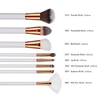 ZHUOTOP 8pcs Women Beauty White Wooden Handle Powder Foundation Blush Concealer Eyebrow Fan Makeup Cosmetics Brushes Set Kit