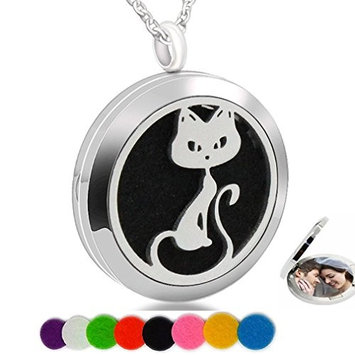 Essential Oil Necklace Aromatherapy Diffuser Fox Stainless Steel Photo Locket Pendant Mom Child Baby