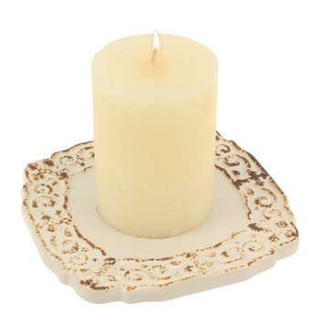 Ckk Home Dï Ï Cor Stonebriar Collection Square Worn White Ceramic Cross Candle Plate