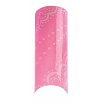 Cala Airbrushed Nail Tips Set Pink & White Dots 87762 + Aviva Nail File+ Nail Glue