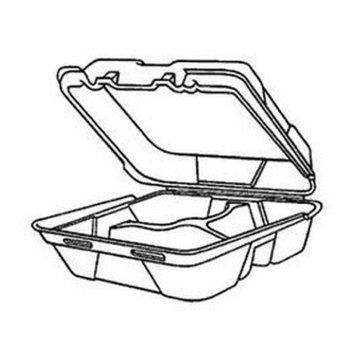 Genpak SN320 White 3 Compartment Medium Snap It Foam Hinged Lid Dinner Container (Case of 200)