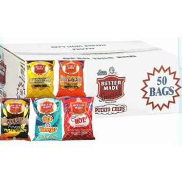 Better Made Special Chips New Variety 50 Count 1ounce, Original Potato Chips, Barbecue, Red Hot Barbeque, Sweet Barbeque, Salt & Vinegar Potato Chips (10) 1ounce bags of each flavor -50/1oz