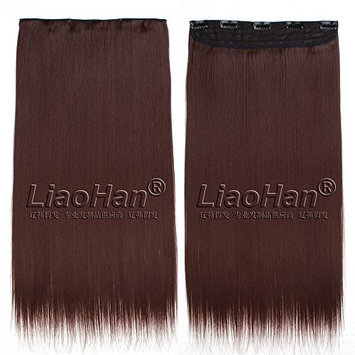 Straight Long Clip in Reddish Brown Hair Extensions 3/4 Full Head Synthetic Hair Clip in on Brown Hairpieces