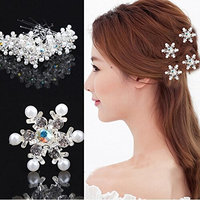 6 Pcs Silver Crystal Wedding Bridal Pearl Flower Hair Pins U Shaped Hair Pin Crystal Rhinestone Hair Jewelry Accessories for Women Lady Girl Party Wedding and Daily Use