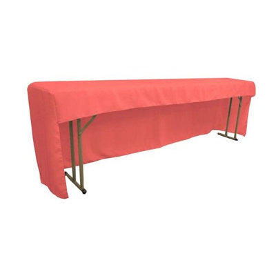 LA Linen TCpop-OB-fit-96x18x30-CoralP55 Open Back Polyester Poplin Fitted Tablecloth for Classroom Tables Coral