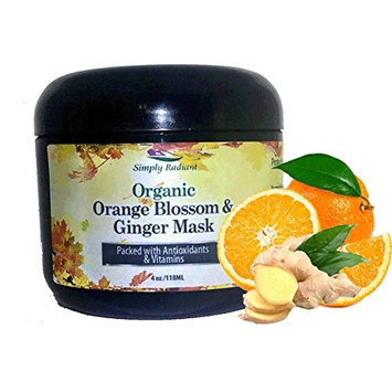 Organic Orange Blossom & Ginger Face Mask Gently Exfoliates, Brightens & Tightens - Great for all Skin Types Especially Acne
