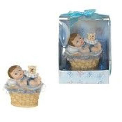 Baby in Basket Poly Resin - Blue Case Pack 48