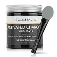 Activated Charcoal Mud Mask with- Premium, Silicone Mask Brush, 8.8 oz Fights Acne, Blackhead Remover and Pore Refining Mask for Detoxing and Cleansing ::...