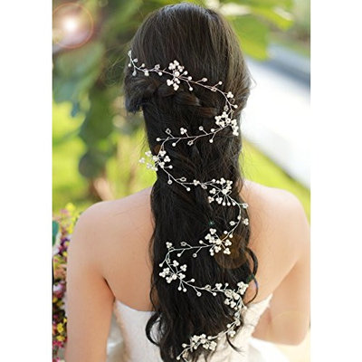 Missgrace Bridal Extra Long Hair Vine Wedding Headpiece with Beads Rhinestones and Flowers Floral Hair Vine Hair jewelry Wedding Hair Accessories for Bride,Women,Flower Girl, Girls(39.4 Inches)
