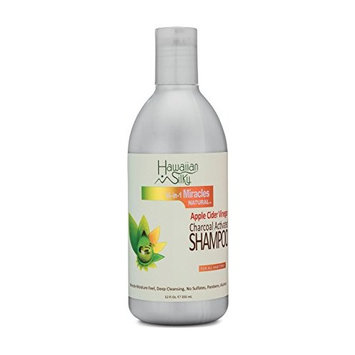 Hawaiian Silky Charcoal Activated Apple Cider Vinegar Shampoo Sulfate-Free,12 oz - Black Castor Oil Extract - Deep Cleansing Root & Scalp Repair - Male and Female Use