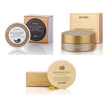 Petitfee Black Pearl + Gold & Snail + Gold Hydrogel Eye Patch SET Korea Cosmetic