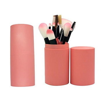 12pcs Makeup Brushes with Case,7 colors for choice, Travel Make-up Brush suits Make-up Tools Beauty Optional Cosmetic Brush Foundation Eye Face Brush Bag Kits (Dark pink)