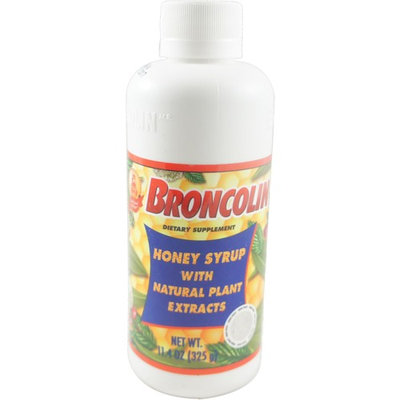 Broncolin Honey Cough Relief Syrup with Natural Plant Extracts Dietary Supplement, Regular 11.4 oz
