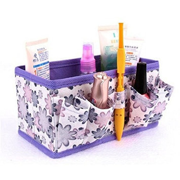 TRENDINAO 2017 New Purple Makeup Cosmetic Foldable Stationary Container Holder Bag Box