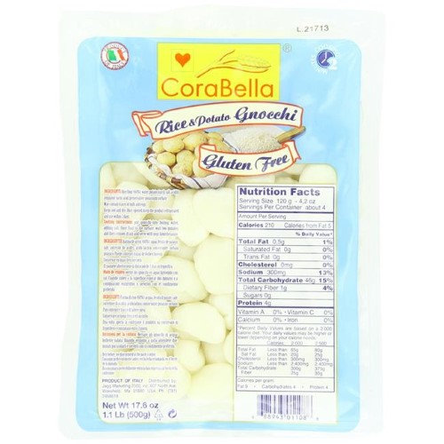 Bella Terra 270245 17.6 oz Potato Gnocchi Organic Pasta Pack of 6