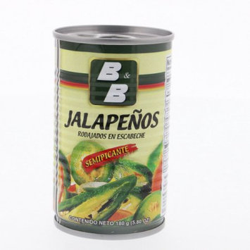 B & B B Hot Peppers Mild Spicy 5.8 Oz - Jalapeno Semipicante (Pack of 18)