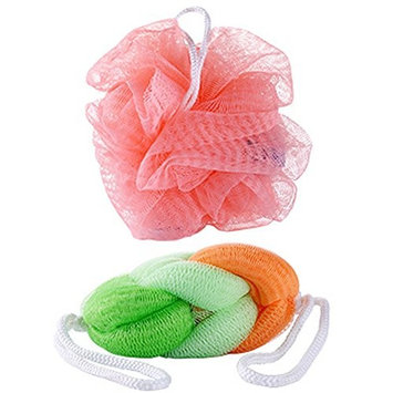 Combination Bath Shower Sponge Loofahs, Mesh Shower Ball, Mesh Pouf Bath and Shower Sponge(4PCS/2Bags, Random Color)