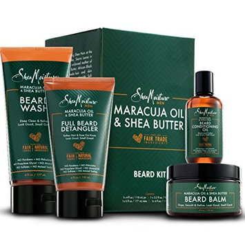 Shea Moisture Complete Beard Kit   All Natural Ingredients   Maracuja Oil & Shea Butter   Beard Balm   Beard Conditioning Oil   Beard Wash   Beard Detangler   Gift Box