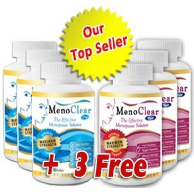 Menoclear Day & Night - Menopause Supplement Relieves Hot Flashes, Night Sweats, Mood Swings & Hormonal Balance - Maximum Strength 6 Bottles - Safe and 100% Natural