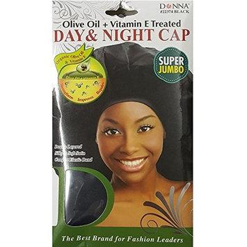 (PACK OF 6) DONNA DAY & NIGHT CAP OLIVE OIL + VITAMIN E TREATED (SUPER JUMBO) #BLACK #22373: Beauty
