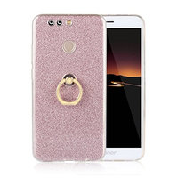 Moonmini Huawei Honor V9. Case Cover Sparkling Slim Fit Soft TPU Back Case Cover with Ring Grip Stand Holder 2 in 1 Hybrid Glitter Bling Bling TPU phone Case Cover (Pink)