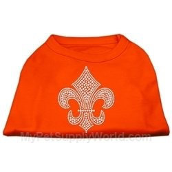 Ahi Silver Fleur de Lis Rhinestone Shirts Orange XS (8)