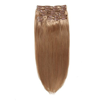 Extra Thick Deluxe Clip In Extensions Human Hair Clip on Hair Extensions 100% Real Remy Hair Extensions 20Inch 185G #18 Medium Blonde Color []