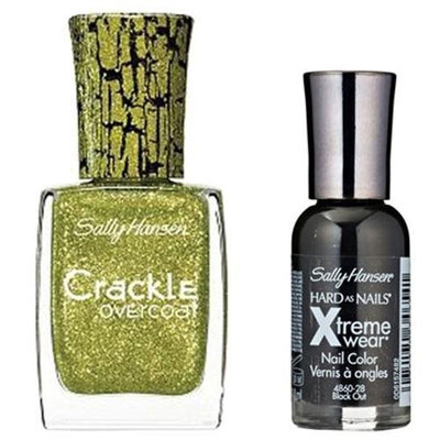 Sally Hansen Xtreme Wear Black Out and Crackle Overcoat Sage Smash