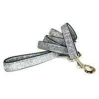 Sophisticated Pup Celebri-Pup Glitter Dog Leash, 3/4-Inch by 5-Feet, Silver
