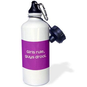 3dRose Girls Rule, Guys Drool, Sports Water Bottle, 21oz