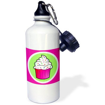 3dRose Cute Cupcake White Frosting with Sprinkles - Kawaii Cakes - Pink, Sports Water Bottle, 21oz