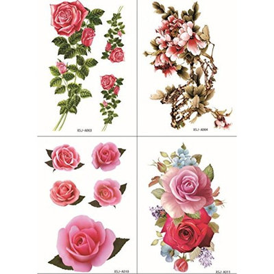 Spestyle new and fashion design 4pcs in one package,it including 4pcs colorful flowers,roses and peony fake temp tattoo stickers