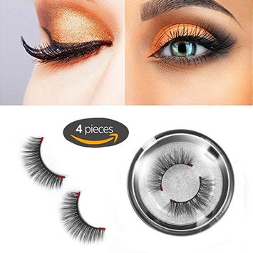 Magnetic False Eyelashes,Three Magnets, No Glue Required, Ultra Thin 3D Fiber Handmade Reusable Eyelashes Extension, 1 Pairs (4 Pieces)
