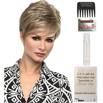 Bundle - 5 items: Jamie Wig by Envy, 15 Page Christy's Wigs Q & A Booklet, 2oz Travel Size Wig Shampoo, Wig Cap & Wide Tooth Comb Color Sparkling Champagne