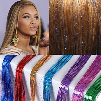 Inaly 310 Strands Holographic Sparkle Hair Tinsel Extensions Dazzles 48