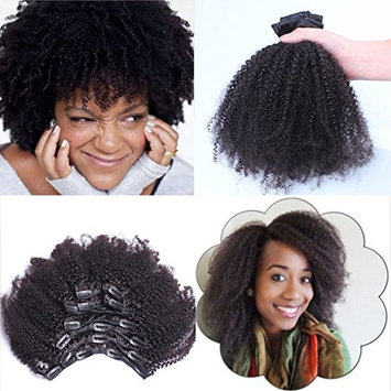 Virgin Mongolian Afro Kinky Curly Clip In Hair Extensions Human Hair Clip Ins Natural Black , 7 Pcs/Set, 08