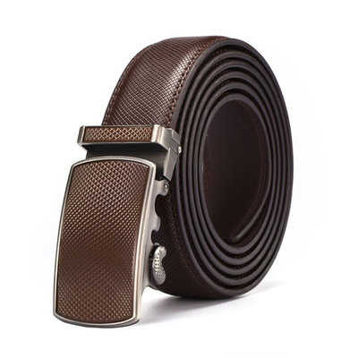 Men's Genuine Leather Ratchet Belt Automatic Buckle Belt 3.5cm Brown Strap Jeans